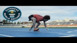 Japanner loopt wereldrecord op handen en voeten