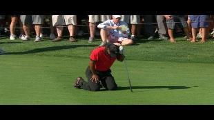 Zo blesseerde Tiger Woods zich aan de rug