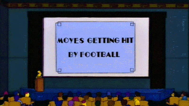 Homer lacht met David Moyes