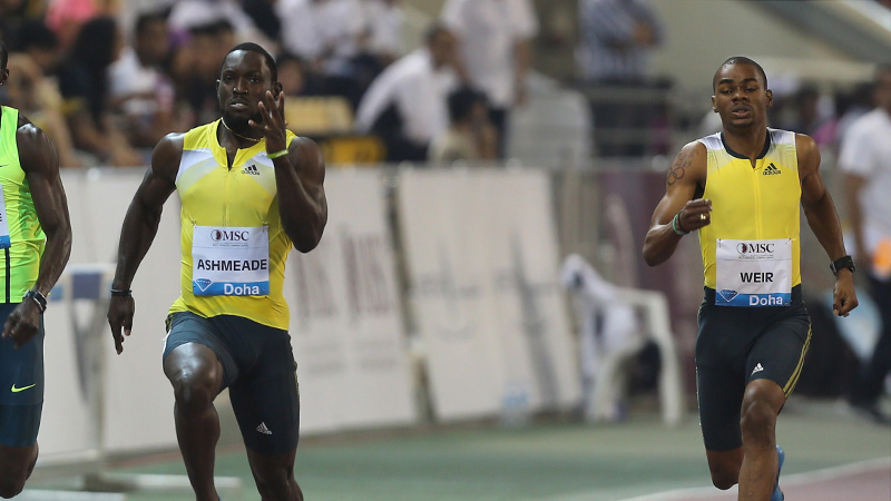 Ashmeade wint spannende 100 meter in Glasgow