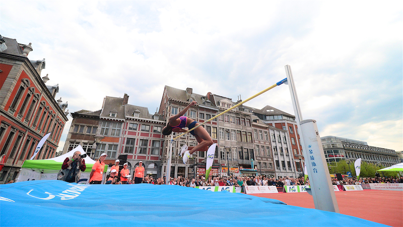 Thiam springt over 1m87 in 'Stade Place Saint-Lambert'