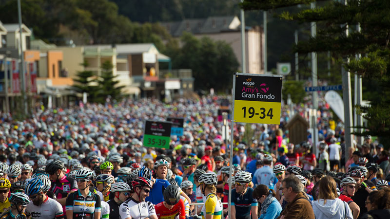 Amy's Granfondo with a safety message