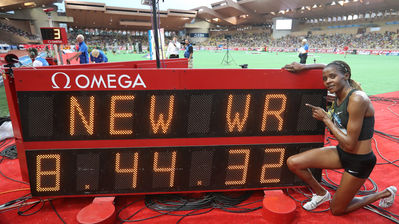 WR 3.000 meter steeple dames op Diamond League Monaco