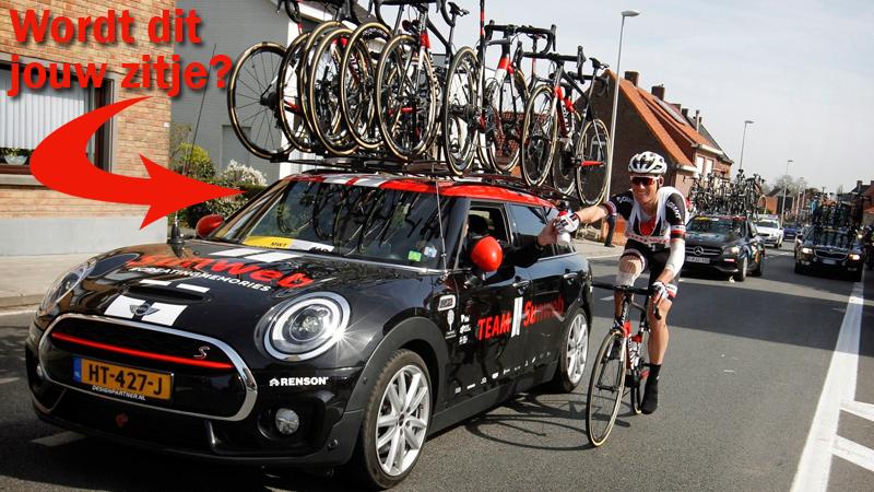 Win jij het zitje in de ploegleiderswagen achter Tom Dumoulin?