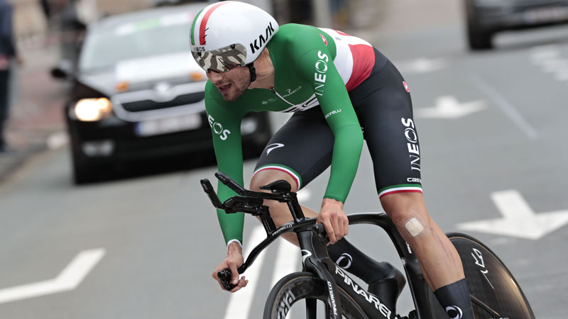 Ganna wins time-trial in The Hague, Wellens extends lead