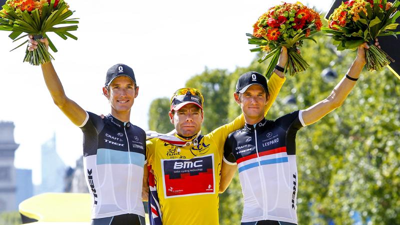 Tour de France podium 2011 present at Schleck Granfondo