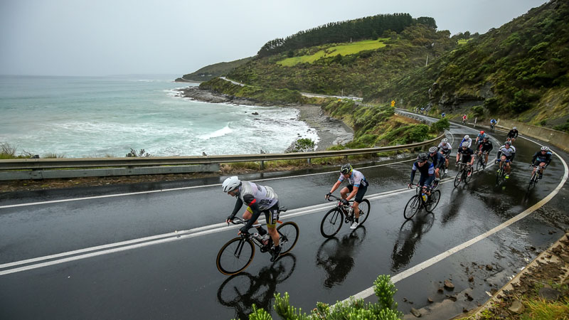 Riding the Great Ocean Road during Amy's Granfondo