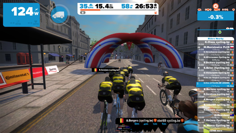 1e Cycling.be Group Ride op Zwift